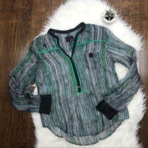 Greylin 100% Silk Black and Green Print Blouse